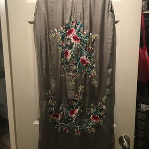 Army green Zara Silk button down with embroidery